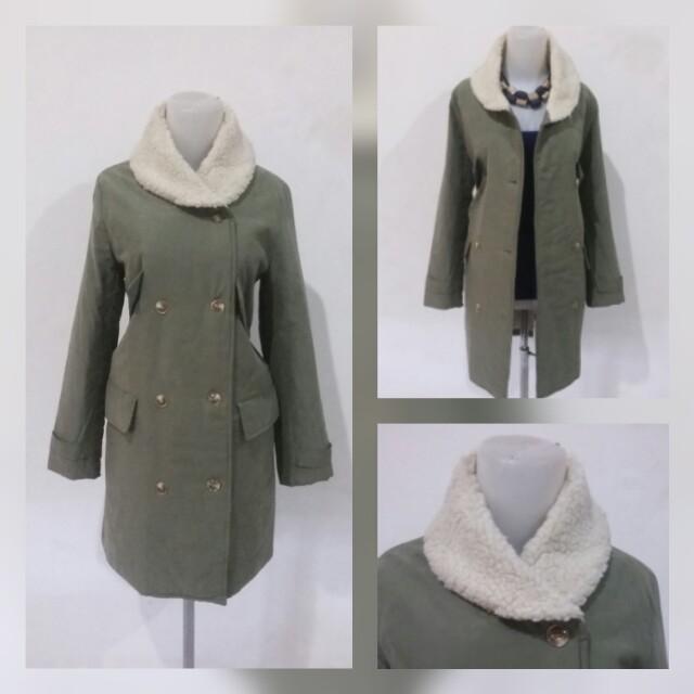 Green army anggora long coat