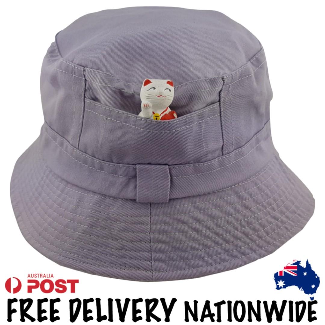 Grey Cotton Bucket Hat