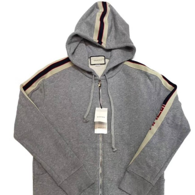 87abcf6d33e Gucci - Hooded zip-up sweatshirt with Gucci stripe