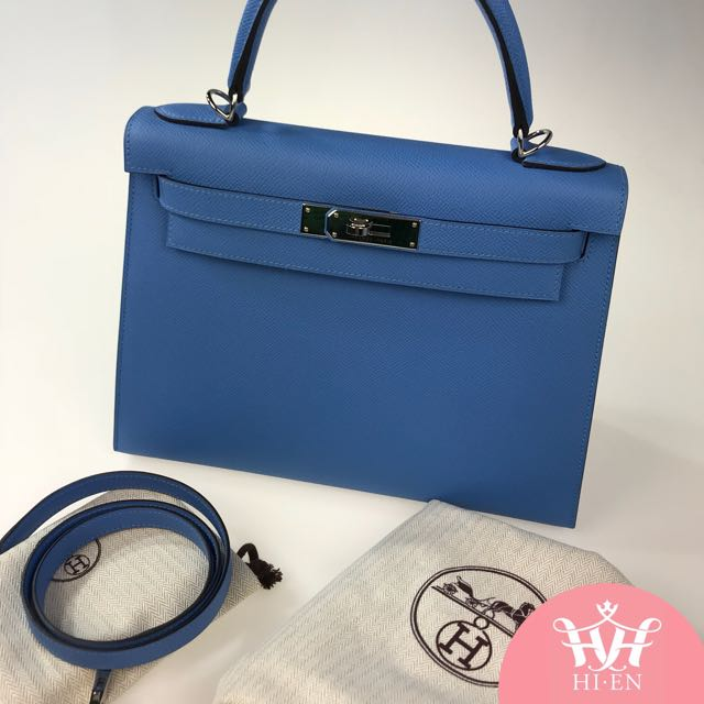 HERMES KELLY 28 EPSOM BLUE PARADISE STAMPT