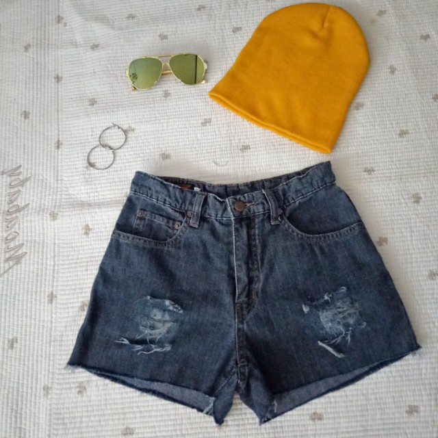 HW denim tattered shorts