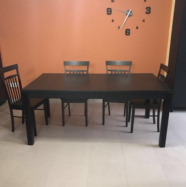 Ikea Bjursta Extendable Dining Table With 4 Chairs Furniture Tables Chairs On Carousell