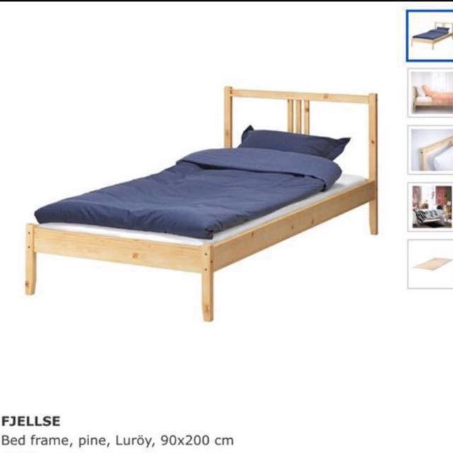 Ikea Fjellse Single Bed Frame With Base + Delivery 6c150032b