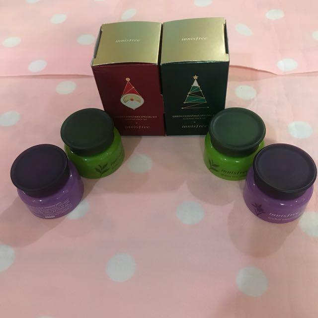 Innisfree green Christmas sleeping pack set