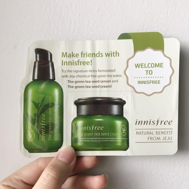Innisfree greentea serum & cream sample size