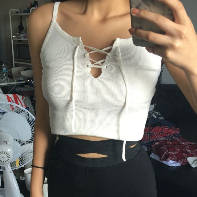 Knit lace up top