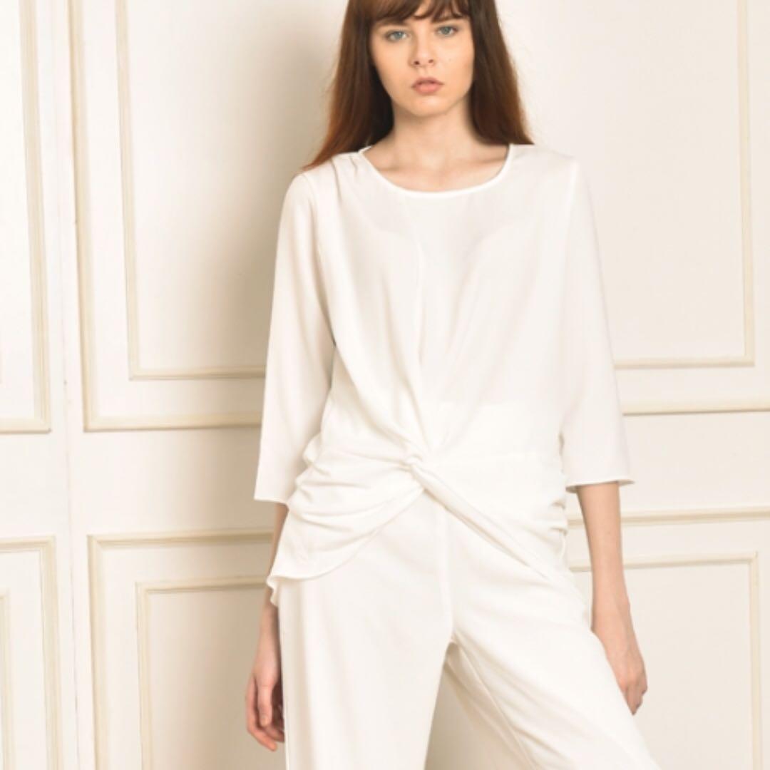 knot blouse white