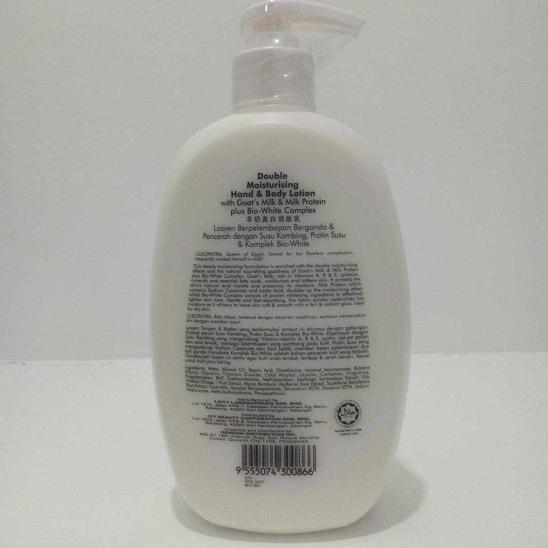 Leivy Hand Body Lotion Double Moisturising Moisturises Whitens Ampamp Pump 500ml Goats Milk Moisturizing And Preloved Health Beauty Skin