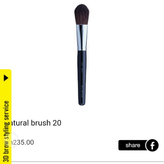 LESS 50% ON ALL 100% AUTHENTIC SHU UEMURA BRUSHES (LIMITED TIME ONLY)  SHU UEMURA NATURAL BRUSH NO. 20 MADE IN JAPAN  100% AUTHENTIC & BRAND NEW AS ALWAYS  STORE PRICE : RM235  MY PRICE : RM117.50  FUNCTIONS : PLS REFER PICTURE  FREE BRUSH GUARD