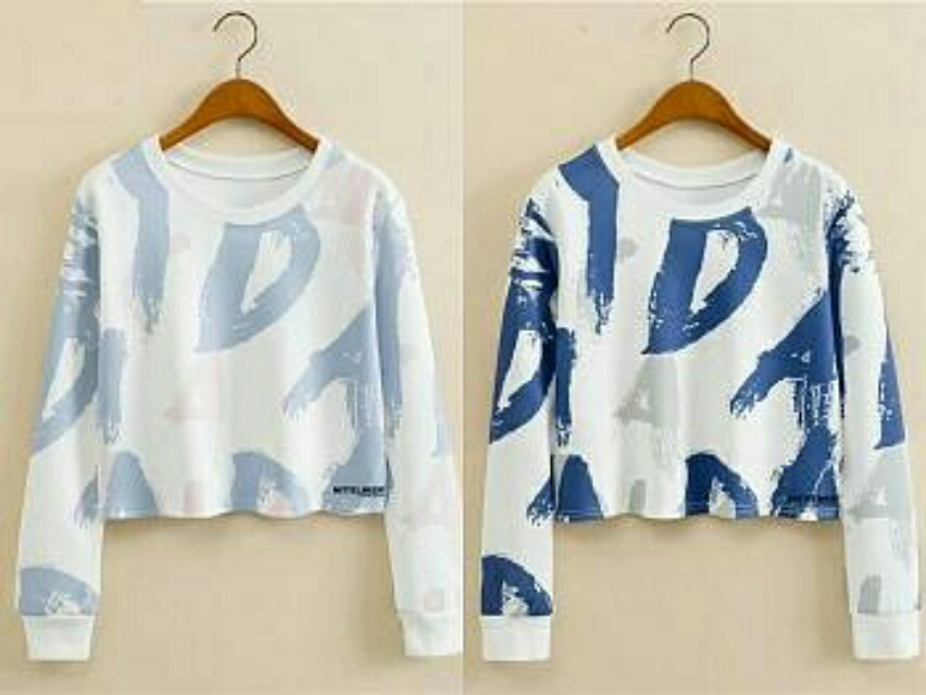 Lj. VT-Colour Abstrack Crop Sweater 55.000 Bahan babiterry full print fit to L