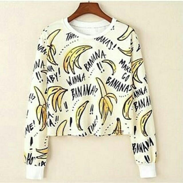 Lj#VT-Bananas Big Crop Sweater 55.000 Bahan babiterry full print fit to L