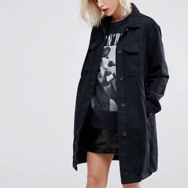 longline black denim outerwear jacket