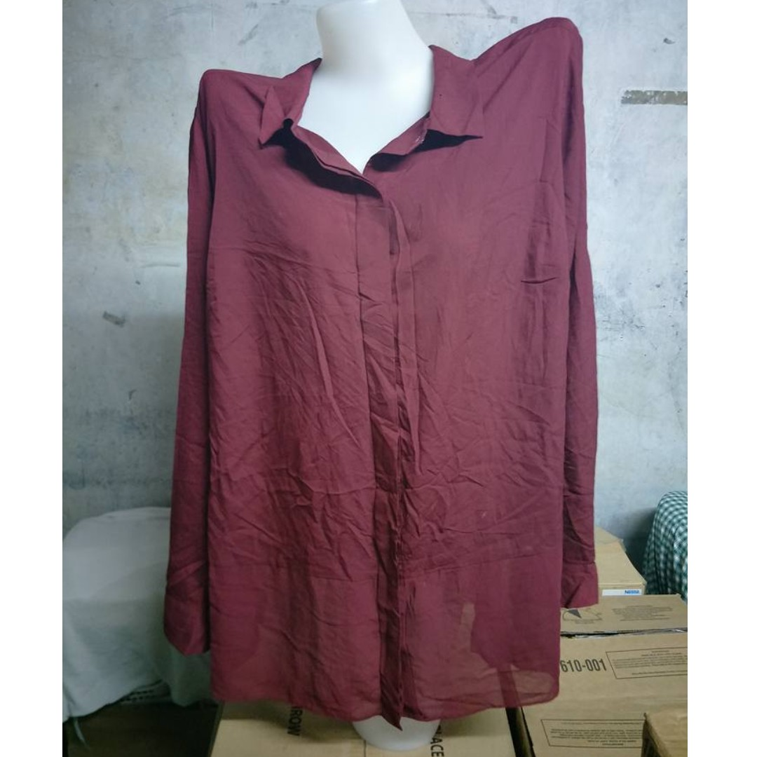 Maroon Long Sleeve Silk Polo Shirt