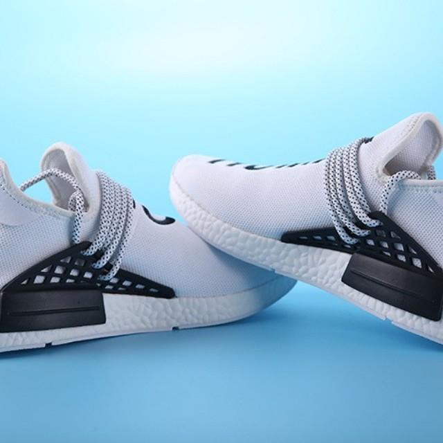 14b5ec6c053bf Mens Womens Pharrell Williams x Adidas NMD Human Race White black Trainers