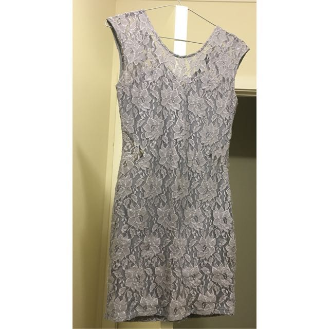 Mini Lace Dress in Oyster Grey