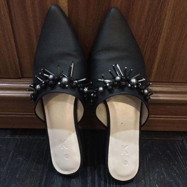 mules sandal shoes black selop