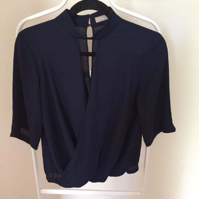 Navy work blouse