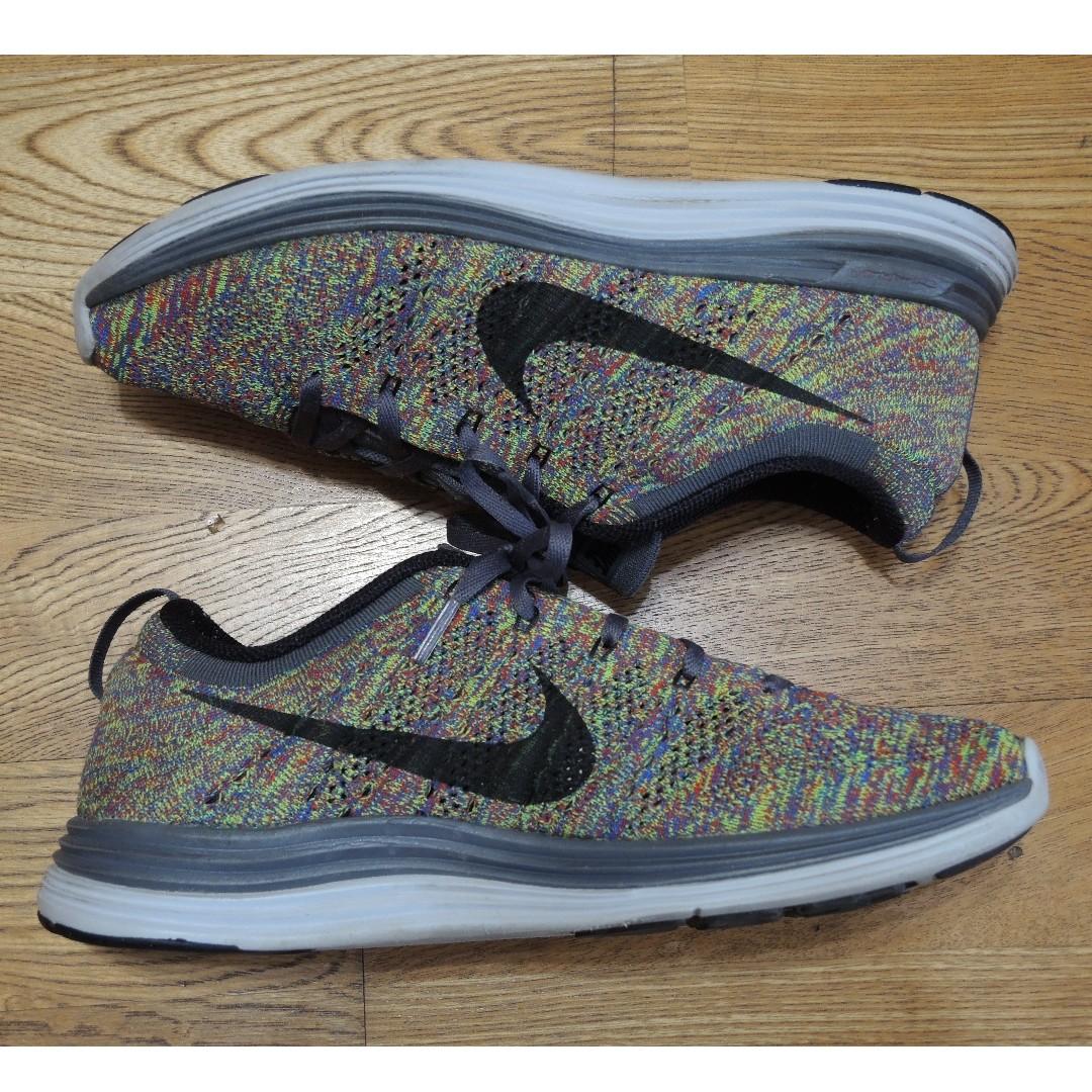 Nike flyknit lunar one + 1 2 3 彩虹 racer 黑 白 編織 white trainer 慢跑鞋