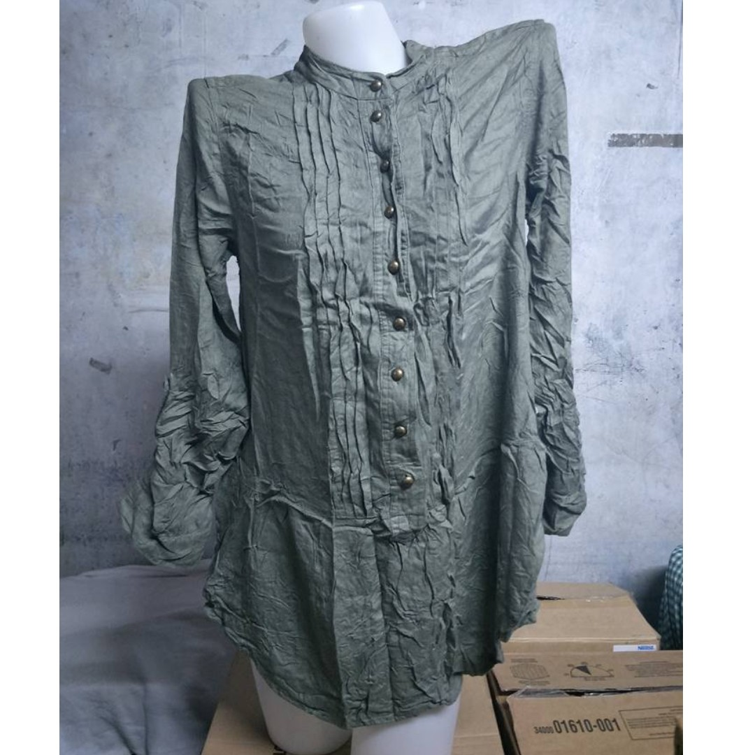 Olive Green Long Sleeve Collared Long Blouse
