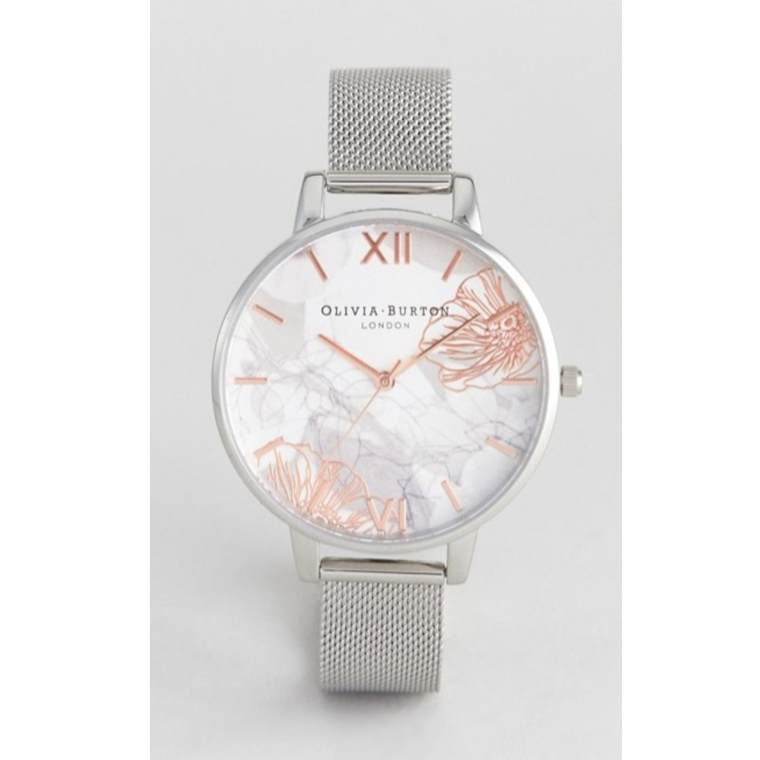 6e4100ad1339 NEW  Olivia Burton Abstract Floral Mesh Watch In Silver