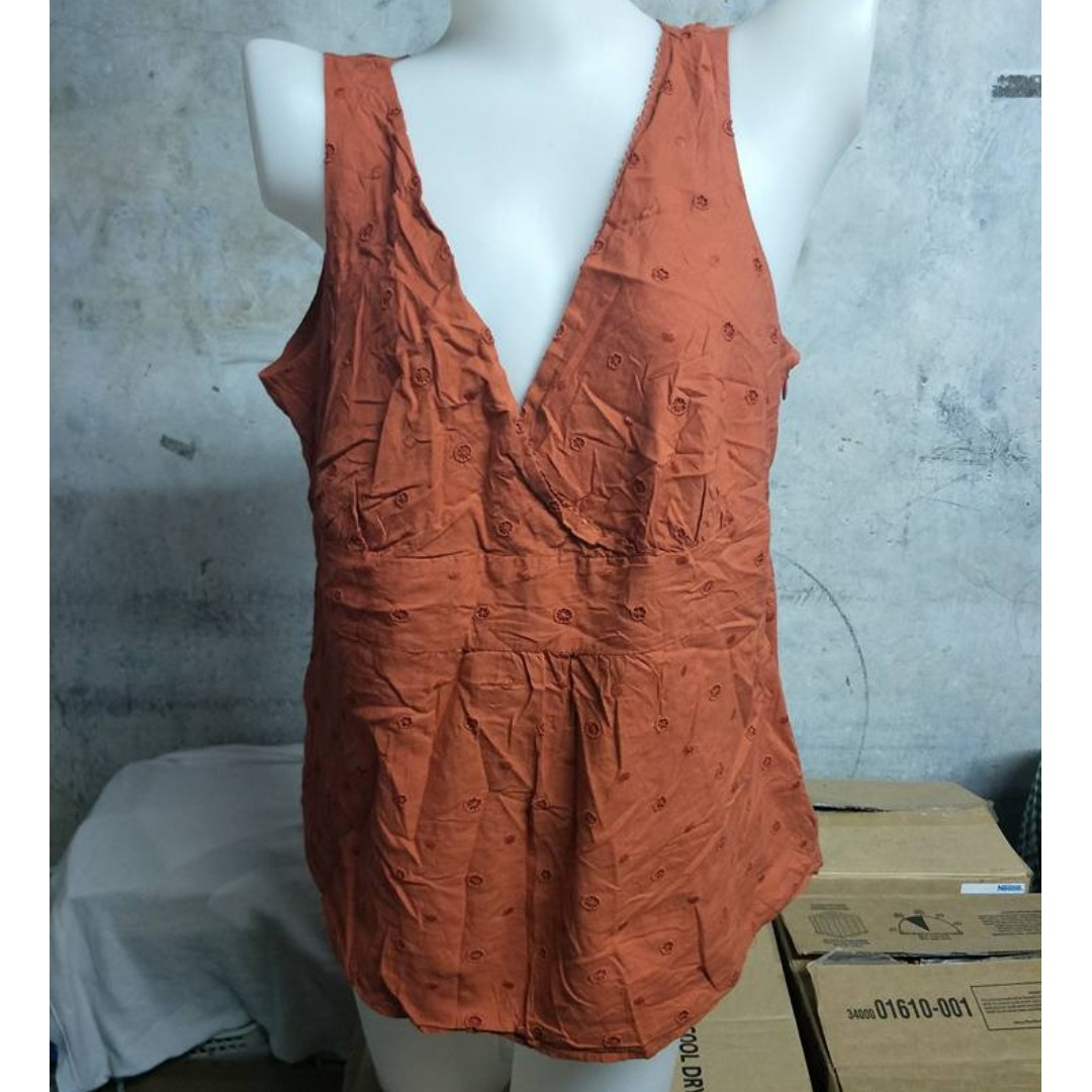 Orange Sleeveless Embroidered Top