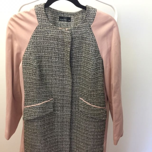 Pale pink /grey Overcoat