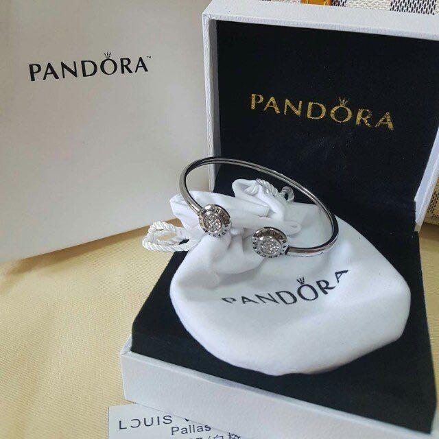 Pandora Inspired Bangle White Gold Gift Set