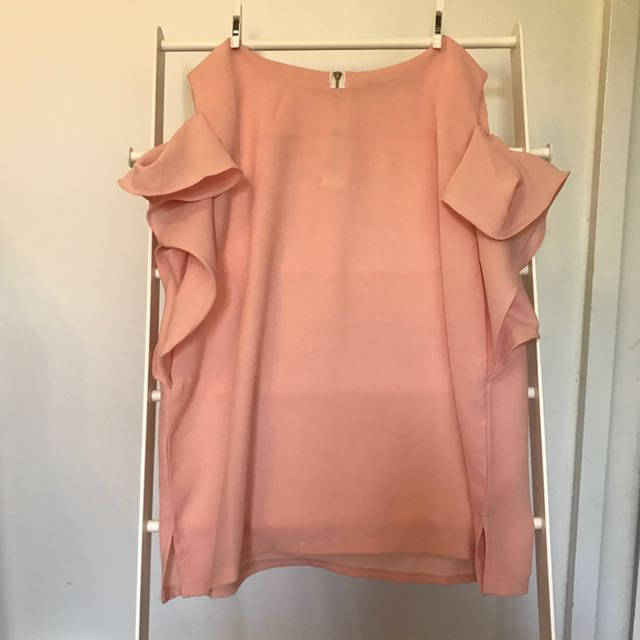 Peach cold shoulder top - size small