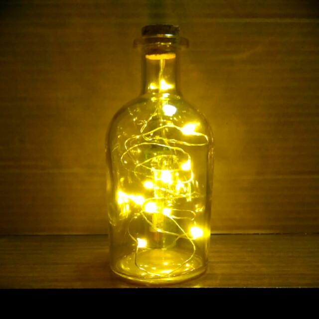 Petite Size Fairy Light LEDs Glass Bottle (Pale Yellow)