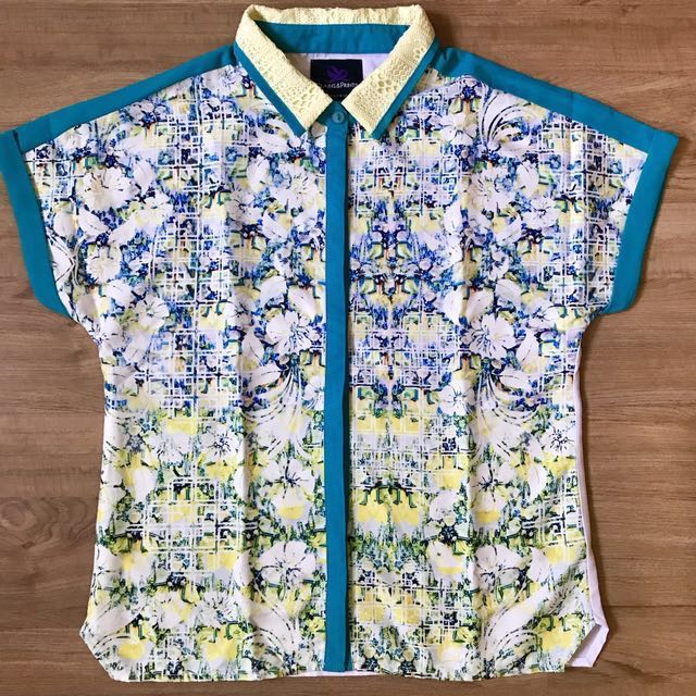 Plains and Prints floral blouse (Small)