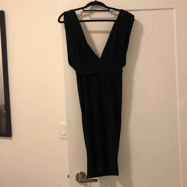 Plunge dress with ruche back