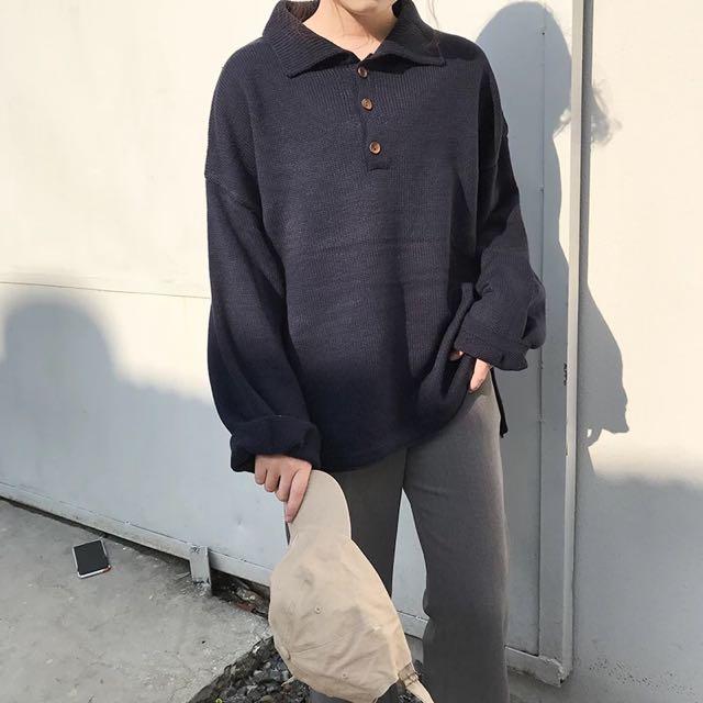 polo領排扣寬鬆厚實針織毛衣