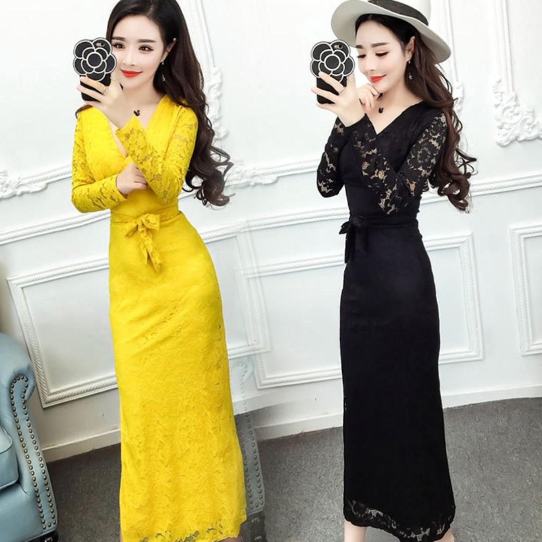Pre order black yellow lace long sleeve bridesmaid prom dress  RBP0651