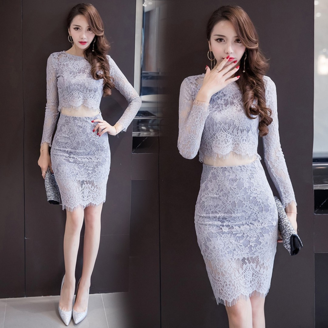 Pre order Grey long sleeve two piece bodycon dress top skirt party prom  RBP0649