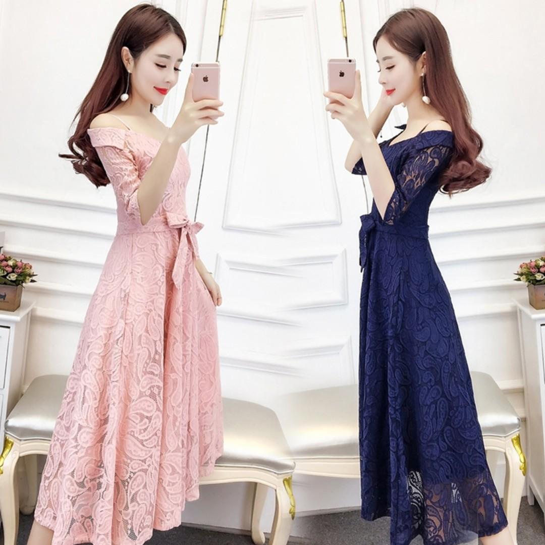 Pre order pink blue off shoulder long sleeve bridesmaid prom dress  RBP0654