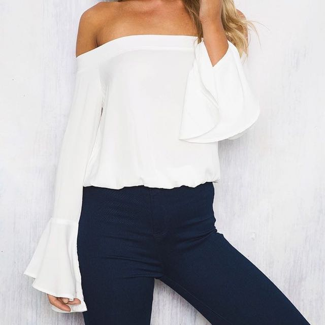 Princess Polly White Off Shoulder Top size 8
