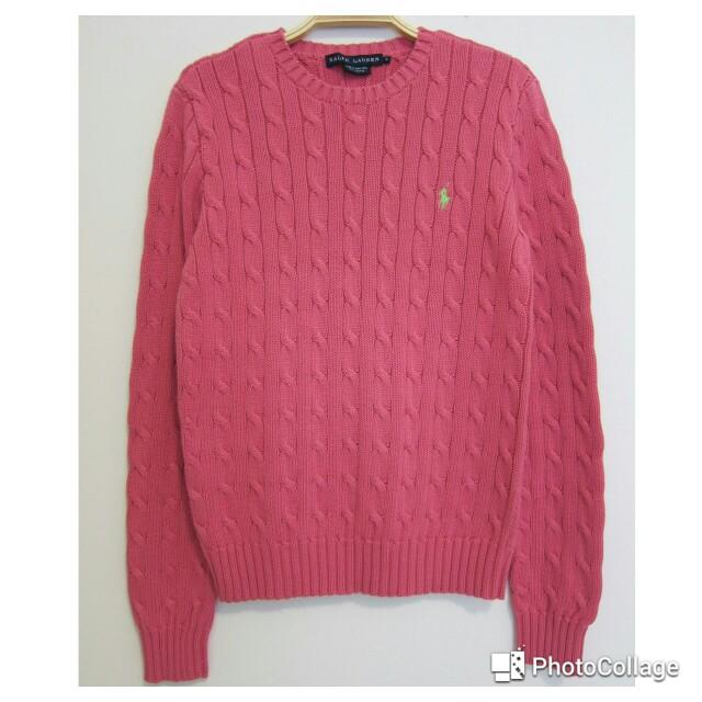 (保留)RALPH LAUREN 野莓色圓領毛衣