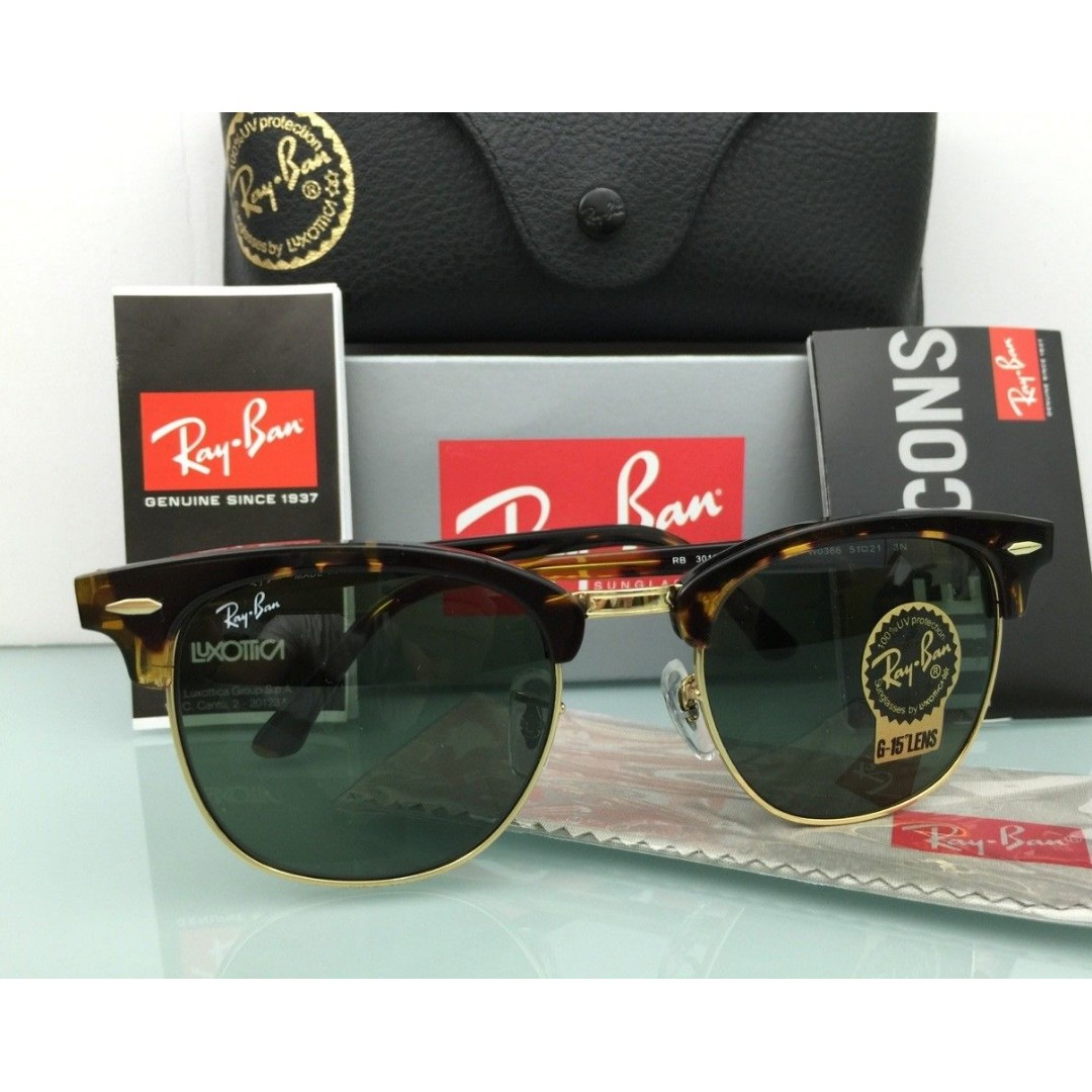 f27cbc4193 RAY BAN CLUBMASTER SUNGLASSES RB3016 W0366 TORTOISE BLACK GOLD G-15 ...