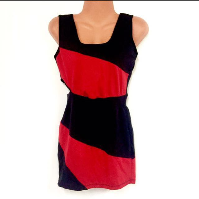 Red & Black Cut-Out Dress
