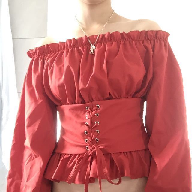 Red off the shoulder top brand new
