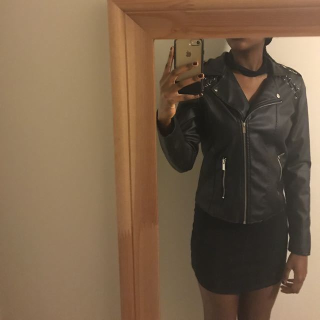 Selling black faux-leather jacket!