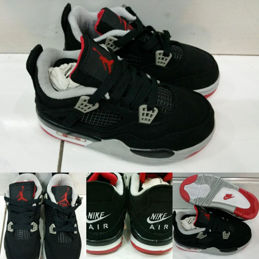 Sepatu Anak Air Jordan 4 Kids Low Bred Black Grey Red Hitam Merah Warna Olshop Fashion Pria On Carousell