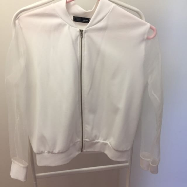 Sheer white summer bomber jacket