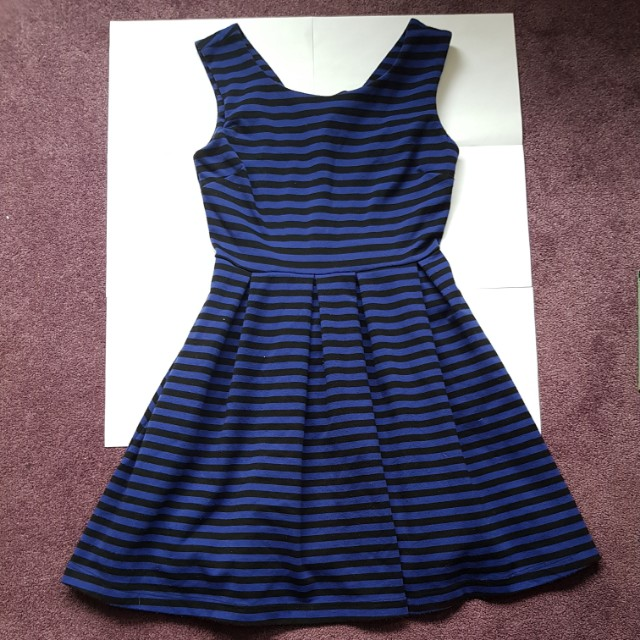 Size 8 Black and blue stripped swing dress