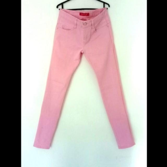 Soft pink long pants semi jeans