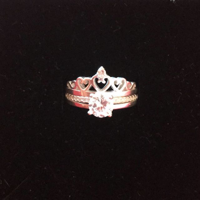 Sterling silver princess crown ring (2in1)