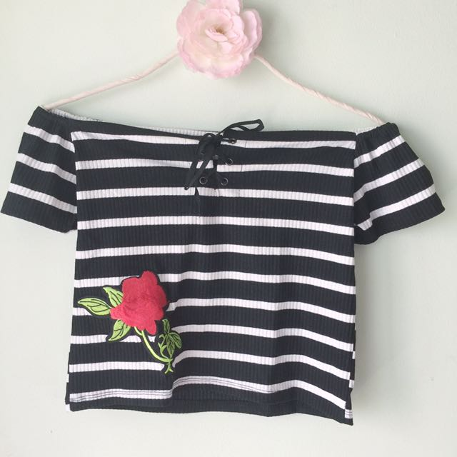 Striped off-shoulder top with rose patch