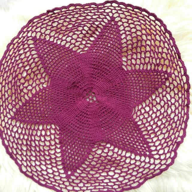 Taplak Meja Rajut Crochet Knitting Handmade Warna Ungu dengan Benang Katun