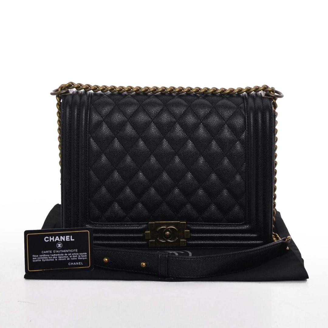 Tas Chanel Boy Caviar Vintage Hardware Medium HITAM Seprem 2018 ... 7ee0e2e04c