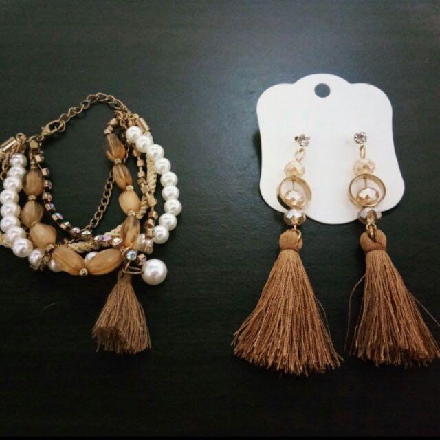 Tassel earrings & bracelet (SET)